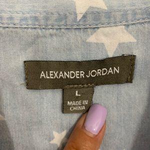 Alexander Jordan Tops - Alexander Jordan Chambray Star Print Blouse L